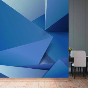 101-7-5 טפט גאומטרי משולשים כחול