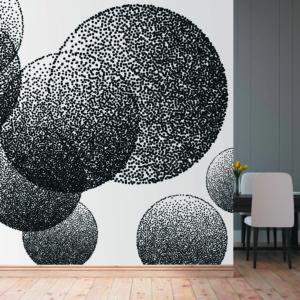 108-21-5 טפט גאומטרי עיגולים שחור לבן